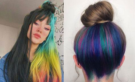 Underlights; tendencia de color debajo del cabello