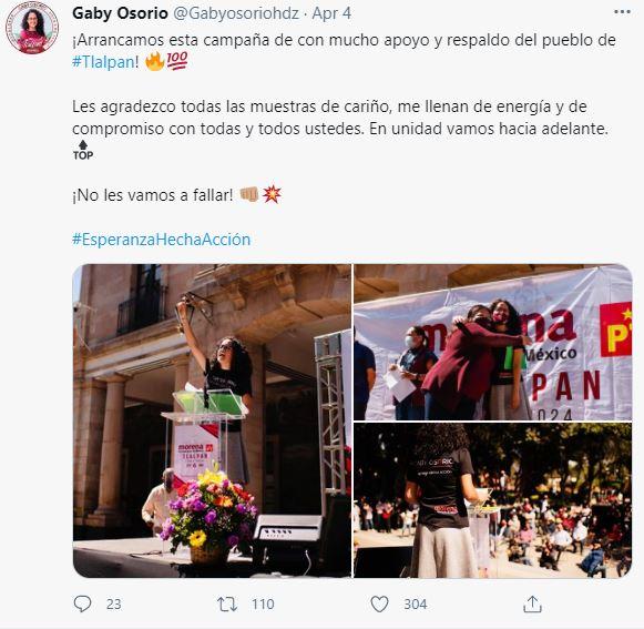 Osorio inicia campaña electoral